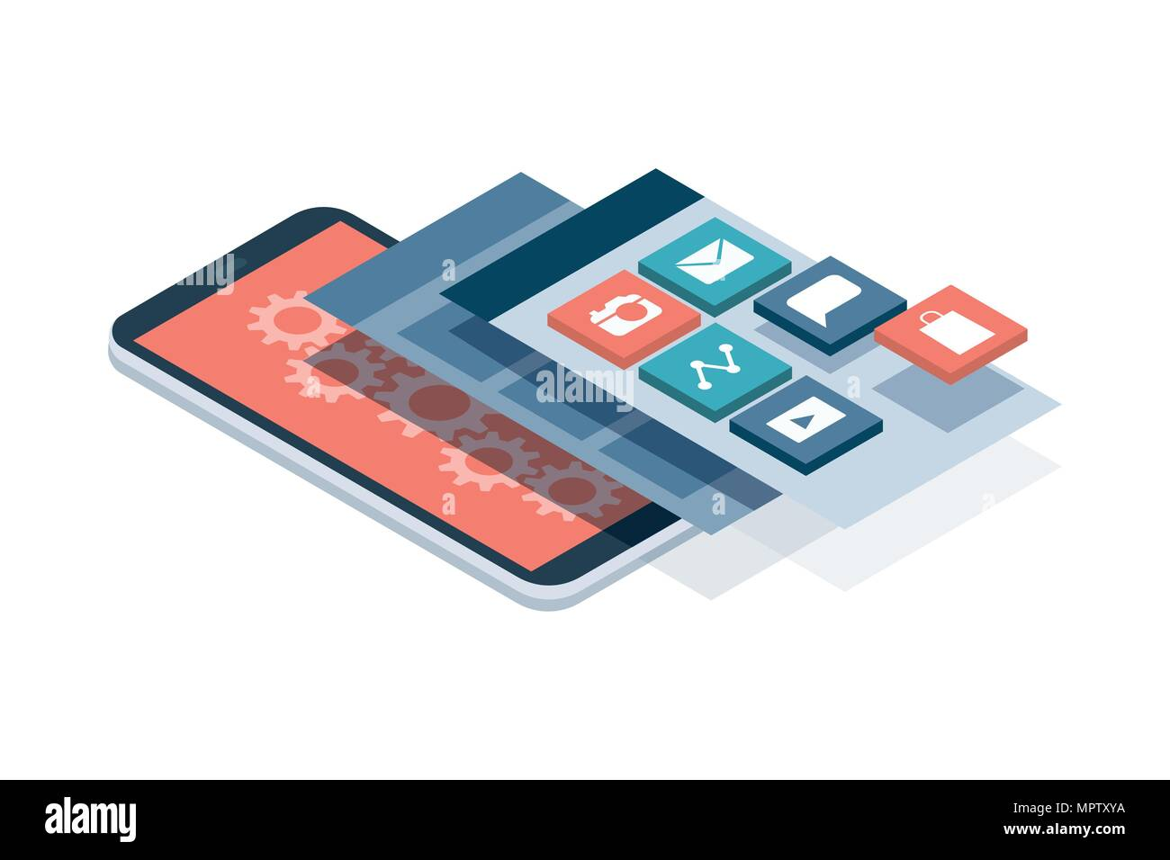 App development and web design: layered user interfaces and screens on a touch screen smartphone Stock Vector