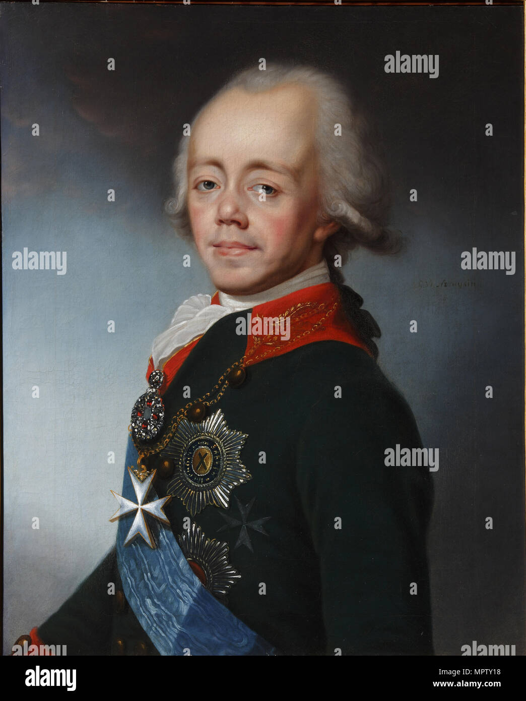 Portrait of the Emperor Paul I of Russia (1754-1801). Stock Photo