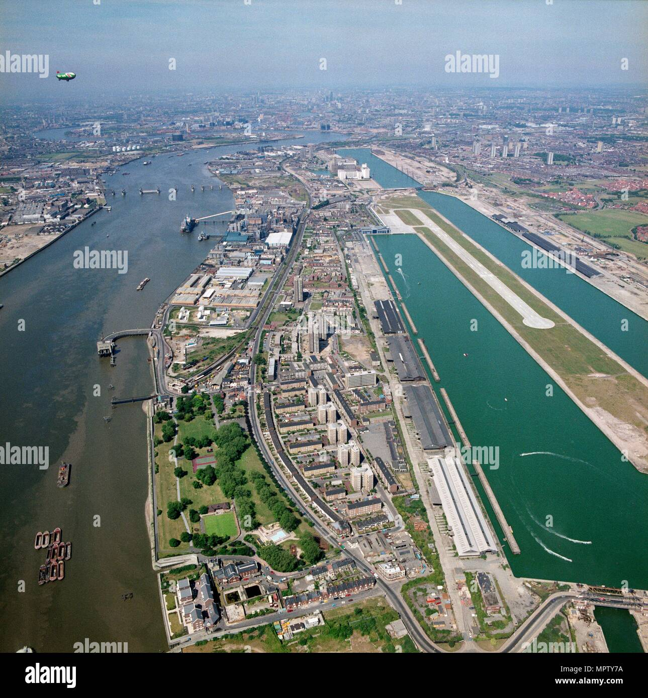 King George V Dock, Newham, London, 1989. Artist: Aerofilms. - Stock Image