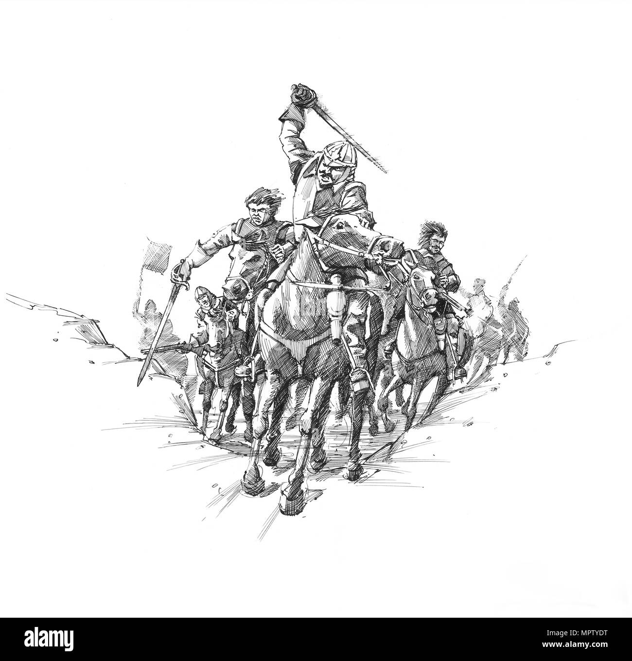 Scottish cavalry, Battle of Newburn Ford, 1640. Artist: Peter Dunn. - Stock Image