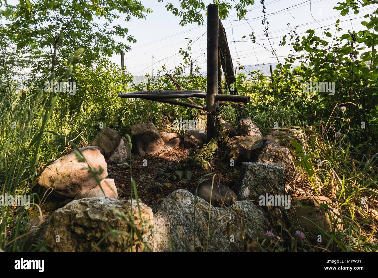 Close up of a fire place near vineyard switzerland - Stock Image