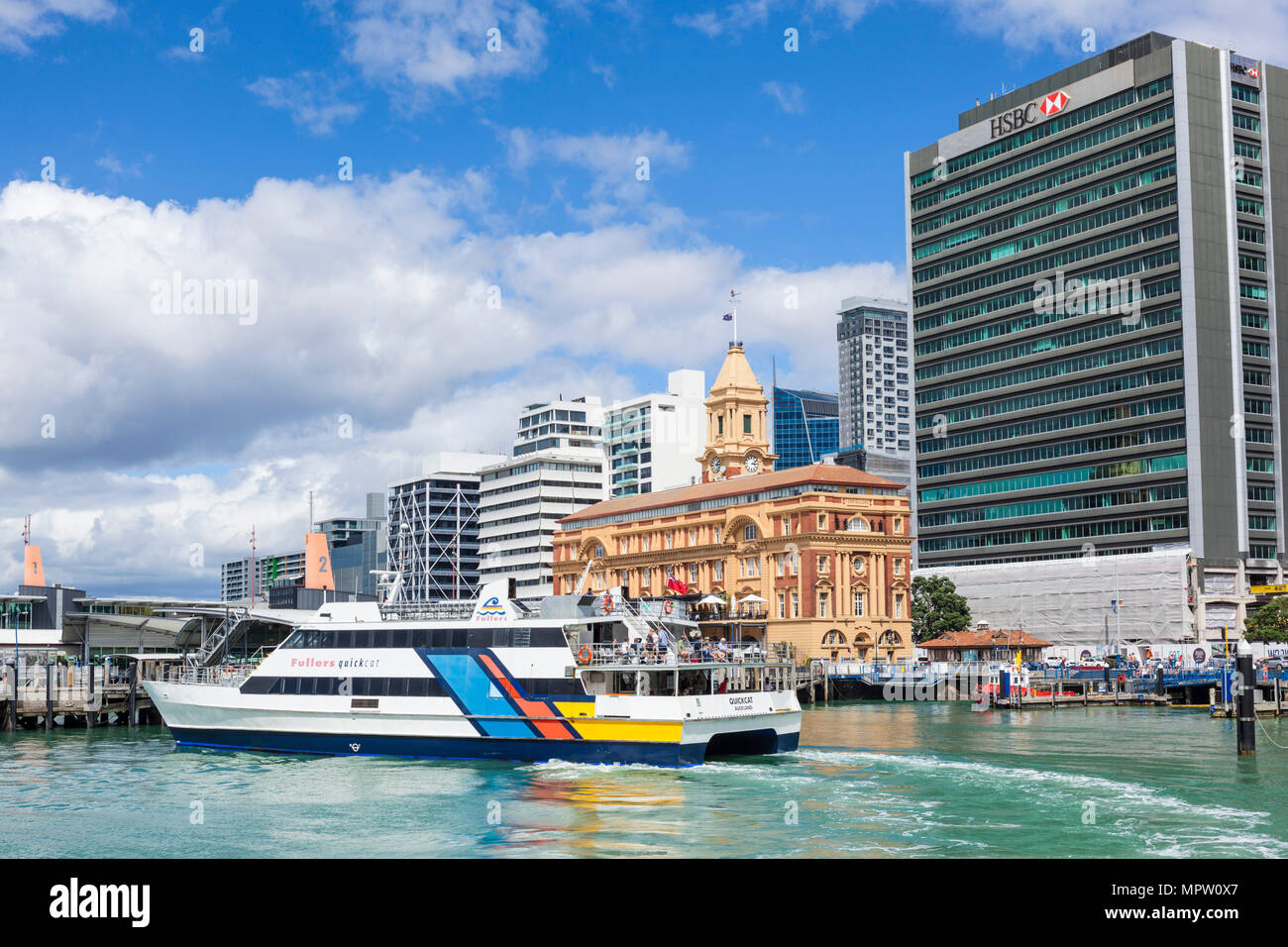 new zealand auckland new zealand north island the Ferry building Quay street Auckland waterfront with arriving ferry new zealand north island - Stock Image