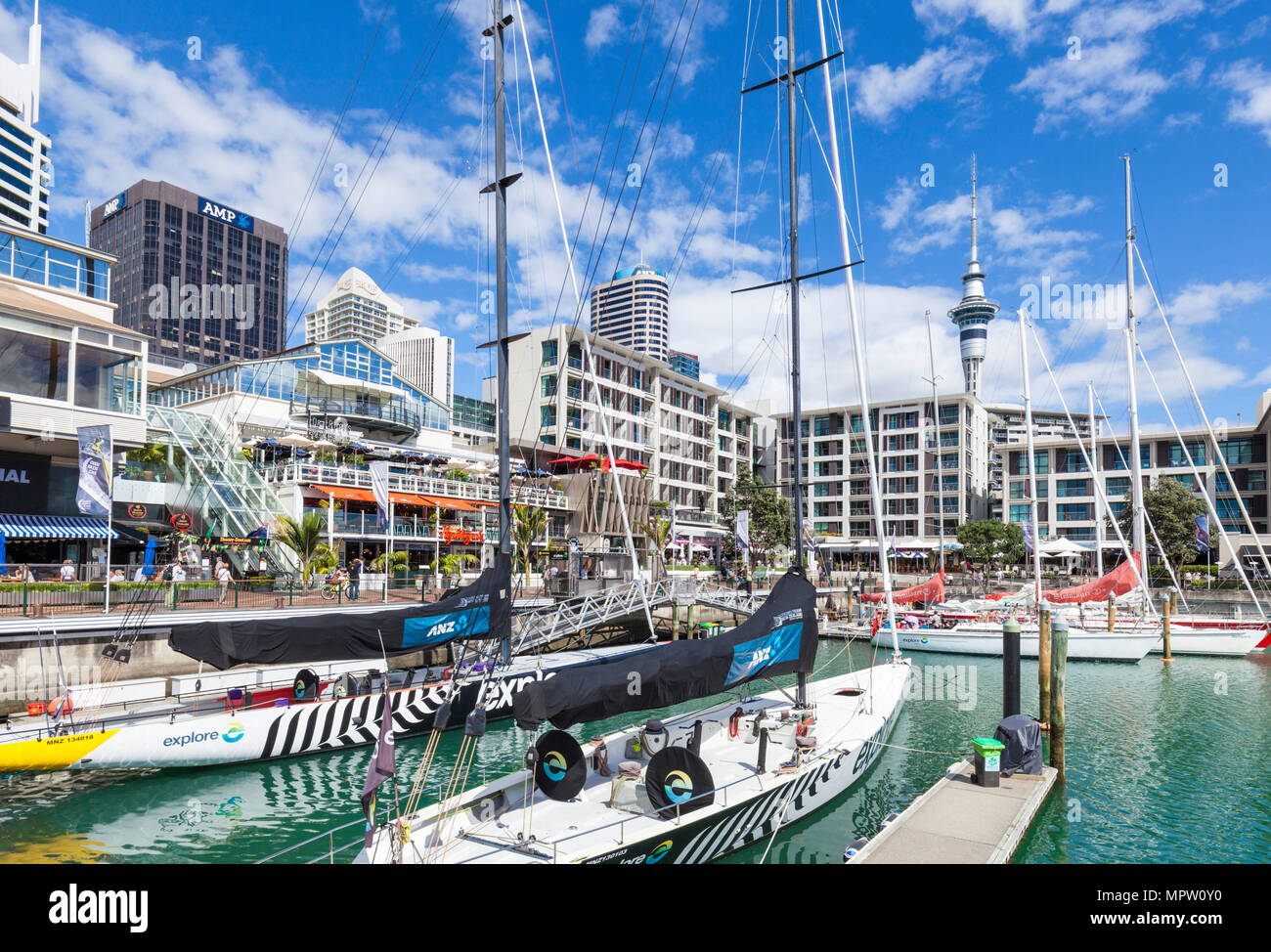 new zealand auckland new zealand north island yachts in viaduct basin inner harbour of Auckland waterfront viaduct harbour auckland north island nz - Stock Image