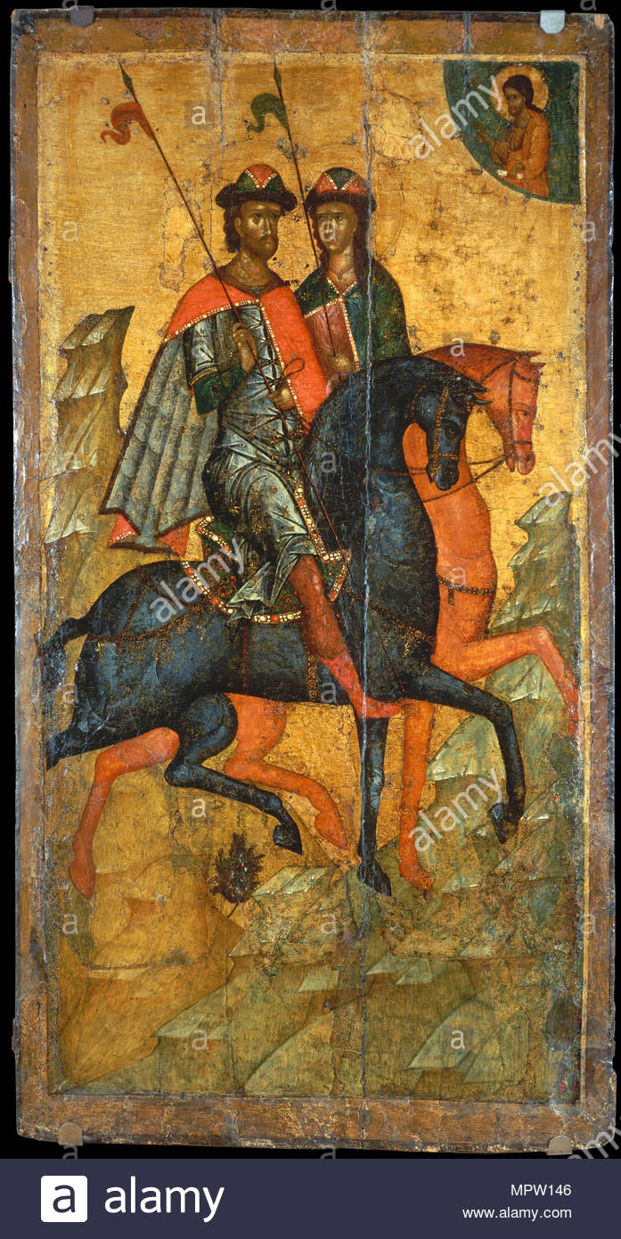 Saints Boris and Gleb on horseback, ca 1345. - Stock Image