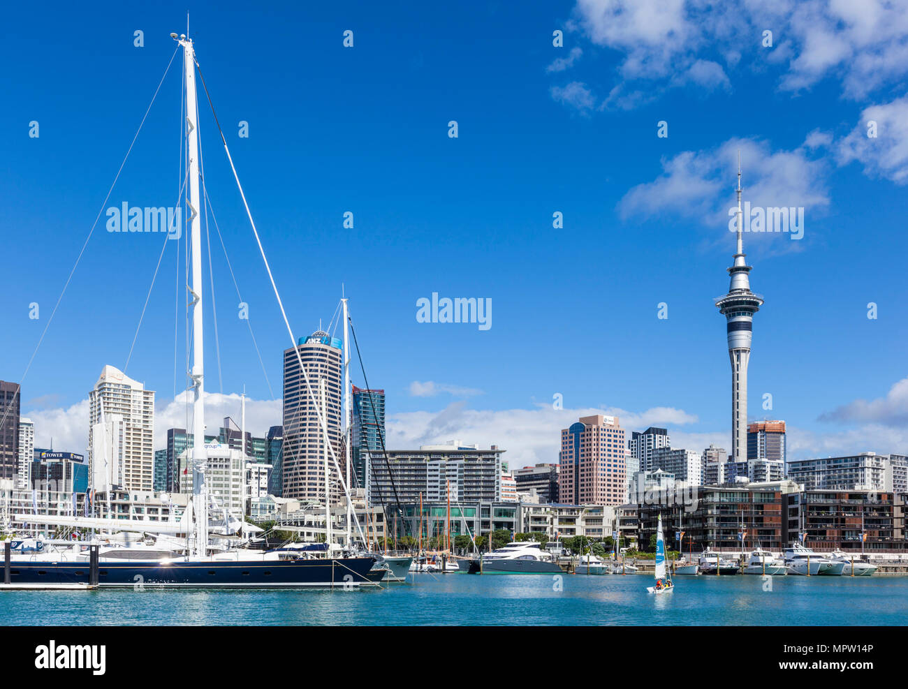 new zealand auckland new zealand north island auckland sky tower behind viaduct harbour area Auckland new zealand north island waterfront area nz - Stock Image
