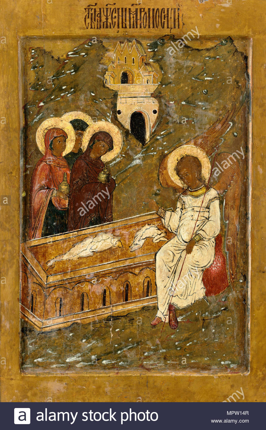 The Three Marys at the Sepulchre, 16th century. - Stock Image