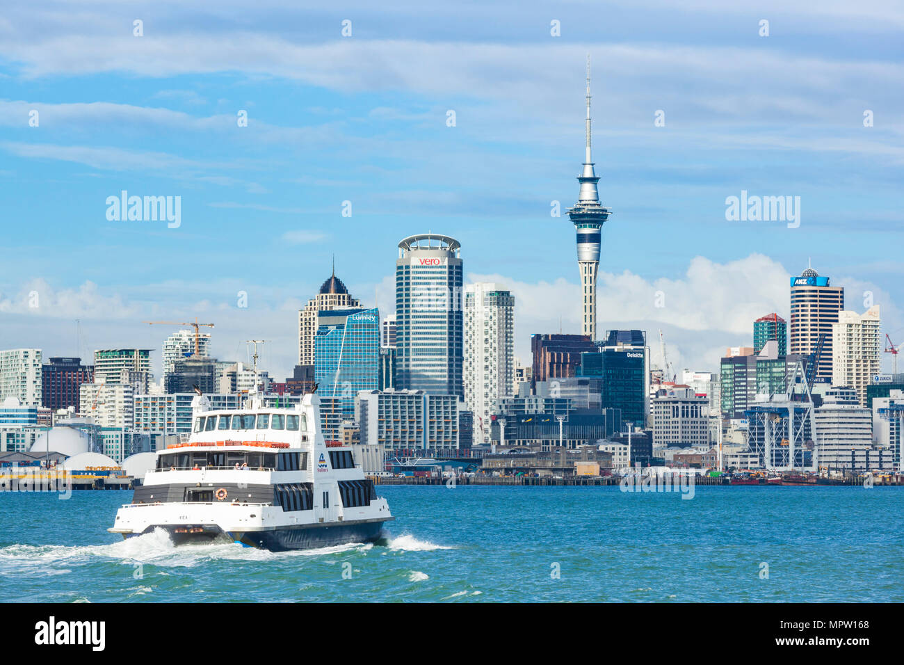 new zealand auckland new zealand north island auckland ferry departing from Devonport ferry terminal across to the cbd of the city of auckland nz - Stock Image