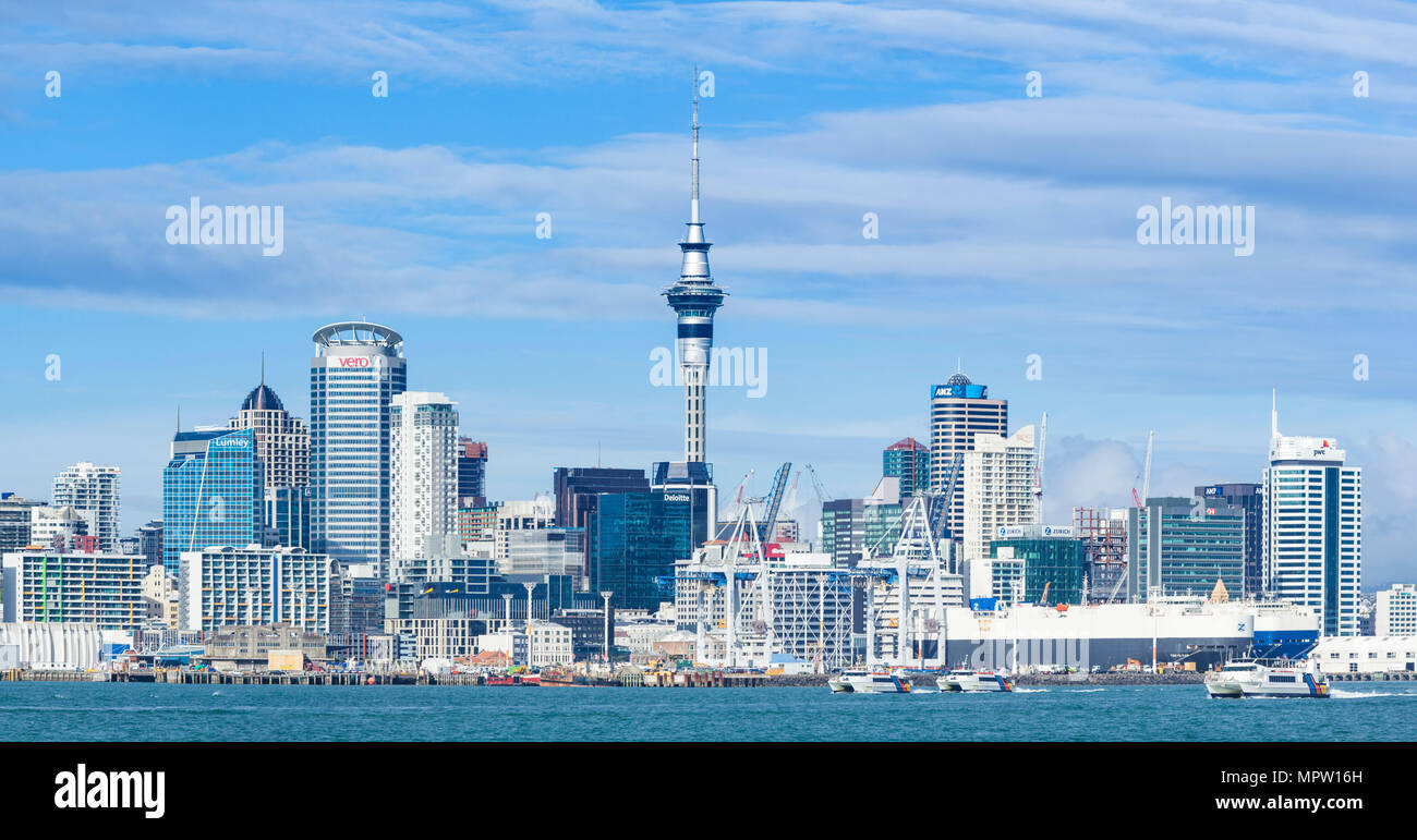 new zealand auckland new zealand north island auckland skyline Waitemata Harbour panorama of cbd sky tower and wharf area of the waterfront auckland Stock Photo
