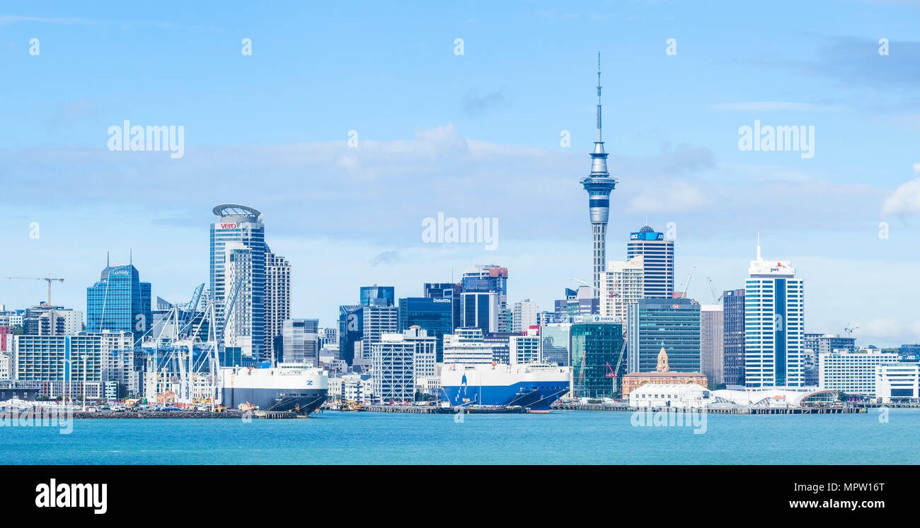 new zealand auckland new zealand north island auckland skyline Waitemata Harbour panorama of cbd sky tower and wharf area of the waterfront - Stock Image