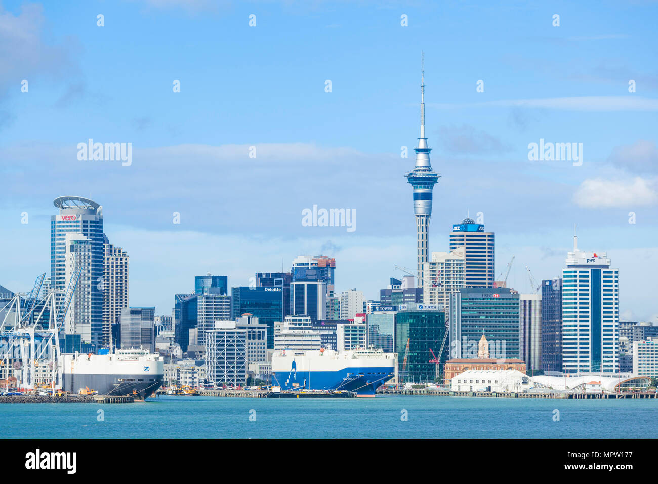 new zealand auckland new zealand north island auckland skyline Waitemata Harbour cbd sky tower and wharf area of the waterfront auckland nz Stock Photo