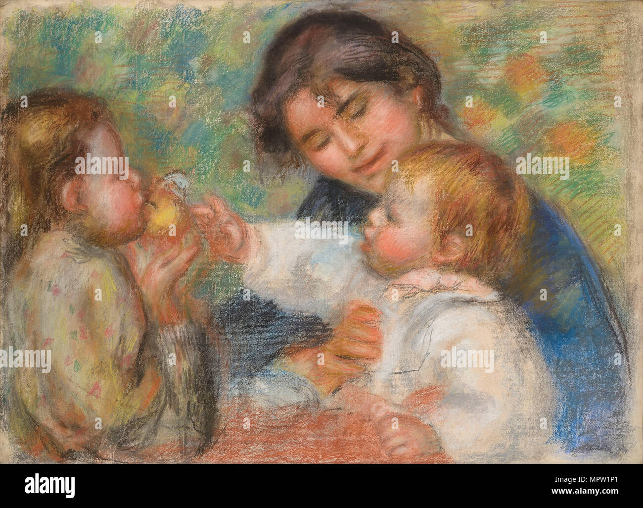 Child with an Apple (Gabrielle, Jean Renoir and a Little Girl), c. 1895. - Stock Image