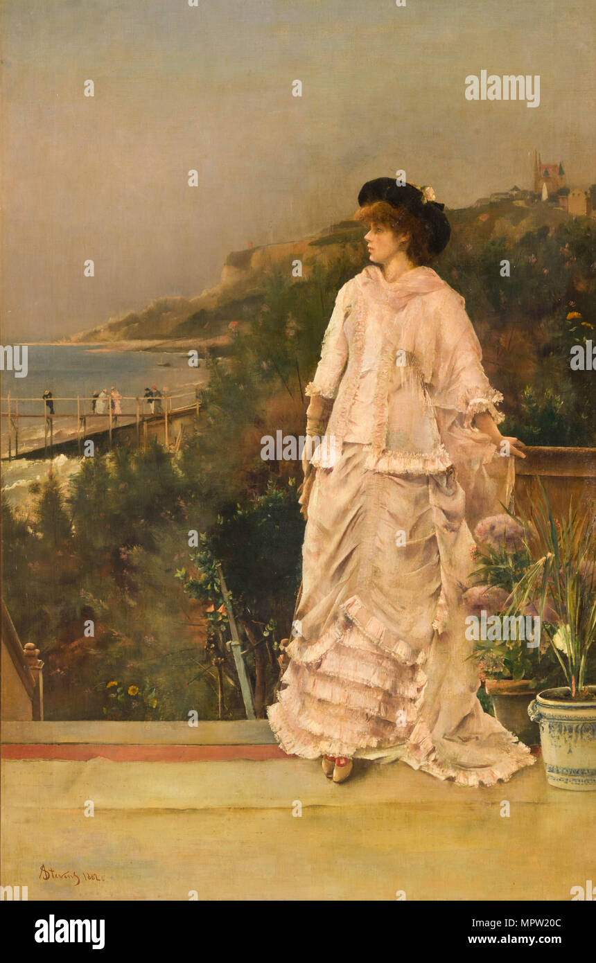 Woman on a terrace by the sea, 1882. - Stock Image
