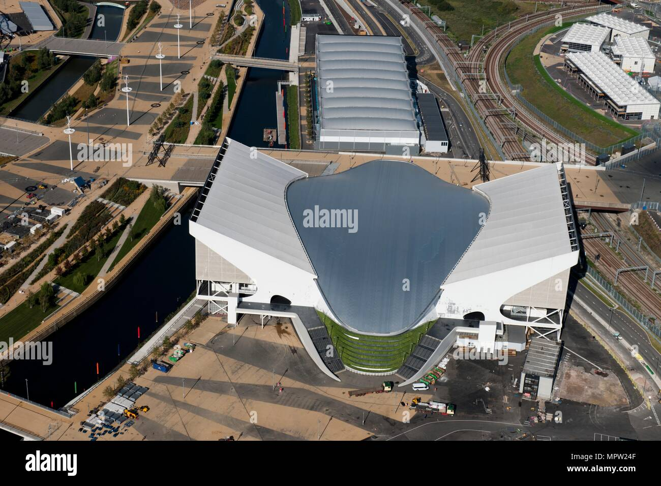 Olympic swimming pool aerial stock photos olympic - Queen elizabeth olympic park swimming pool ...