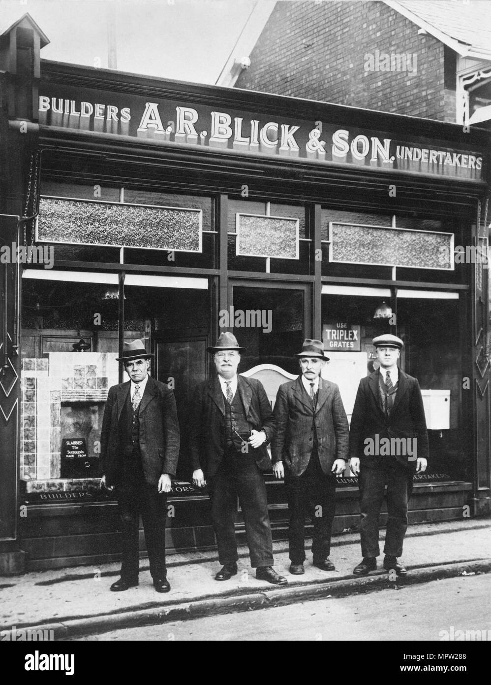 Employees of AR Blick and Son, builders and undertakers, Stonehouse, Gloucestershire, 1935. Artist: Unknown. - Stock Image