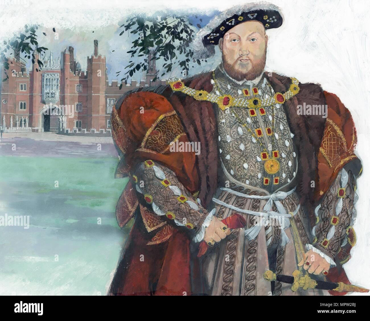 Henry VIII, King of England, 1990s. Artist: Ivan Lapper. - Stock Image