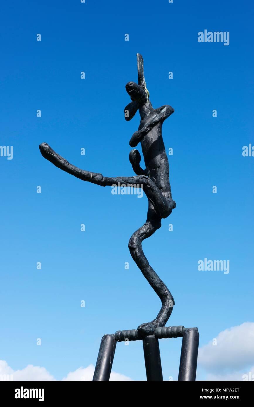 'The Cricketer', sculpture by Barry Flanagan, Jesus College, Cambridge, Cambridgeshire, 2015. Artist: James O Davies. Stock Photo