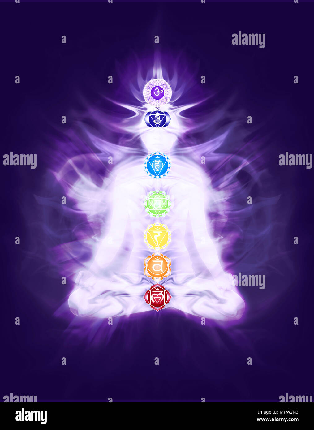 Person sitting in Yoga meditation lotus pose with colored chakras and emanating energy flow overlayed on the body, artistic design, conceptual illustr - Stock Image