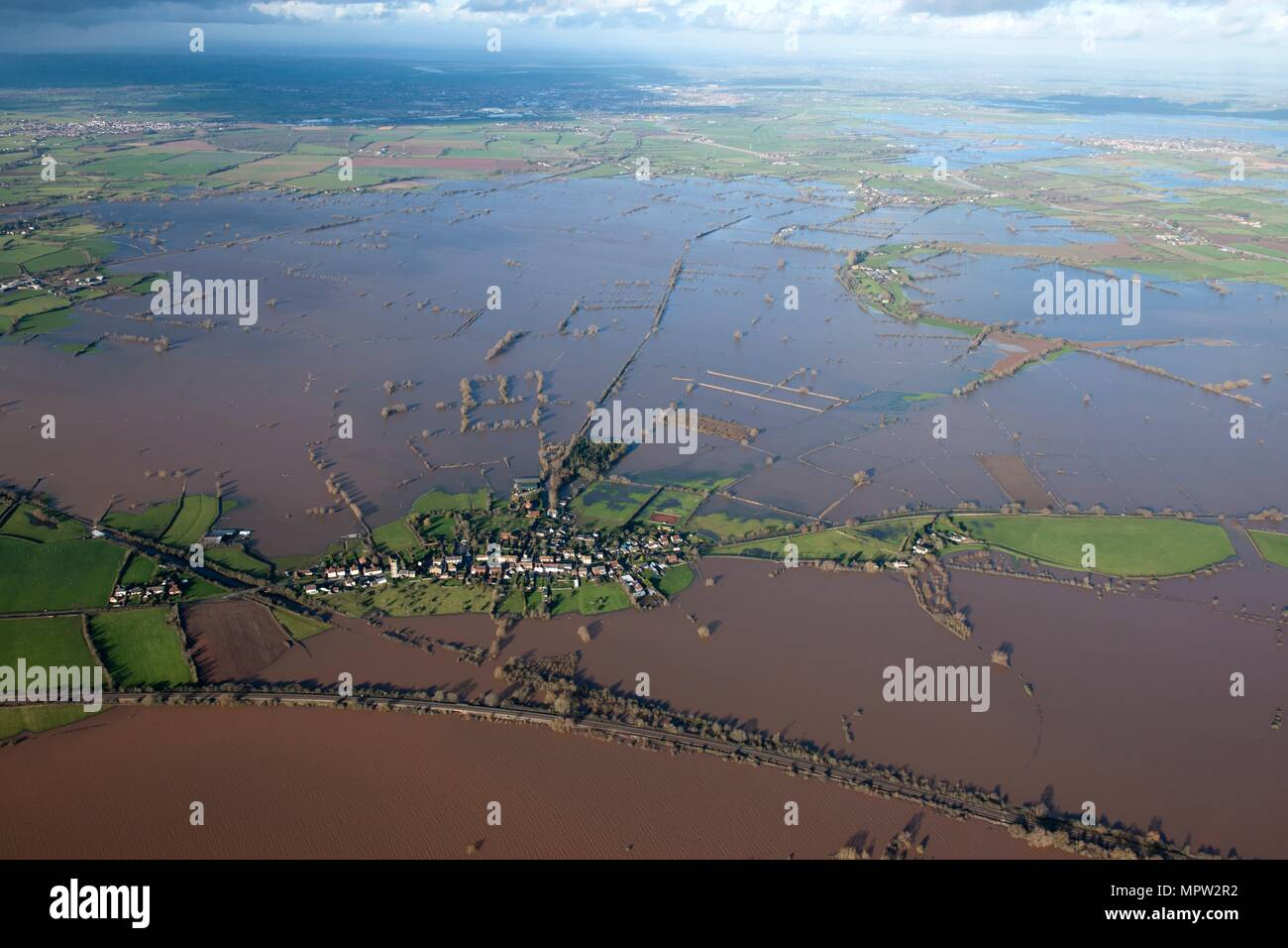 Aerial view of flooding around East Lyng, Somerset Levels, January, 2014. Artist: Damian Grady. - Stock Image