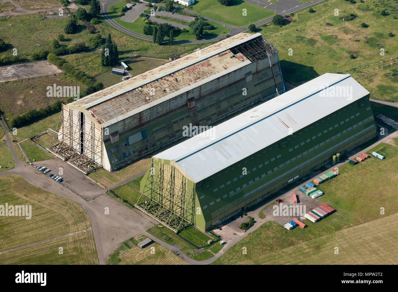 Airship hangars, RAF Cardington, Bedfordshire, c2010s(?). Artist: Damian Grady. - Stock Image