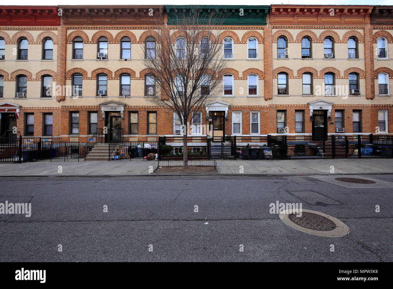 exterior of apartment buildings in Astoria, Queens, New York City Stock Photo