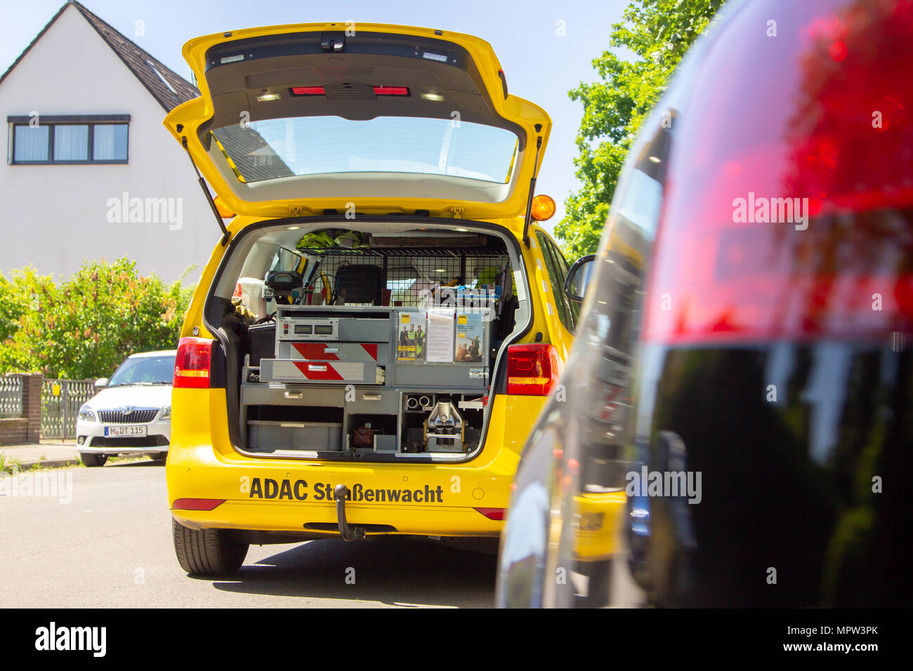 HANNOVER / GERMANY - MAY 21, 2018: Service car from ADAC, german automobile club stands on a street. - Stock Image