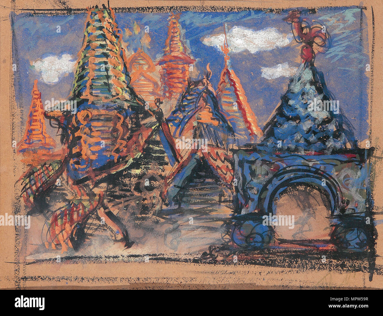 Stage design for the opera Khovanshchina by M, Musorgsky, 1902. - Stock Image