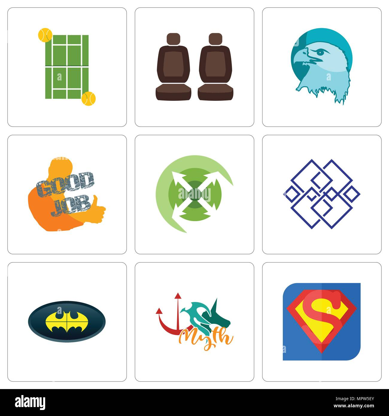 Set Of 9 Simple Editable Icons Such As S Myth Bat Generic Extend
