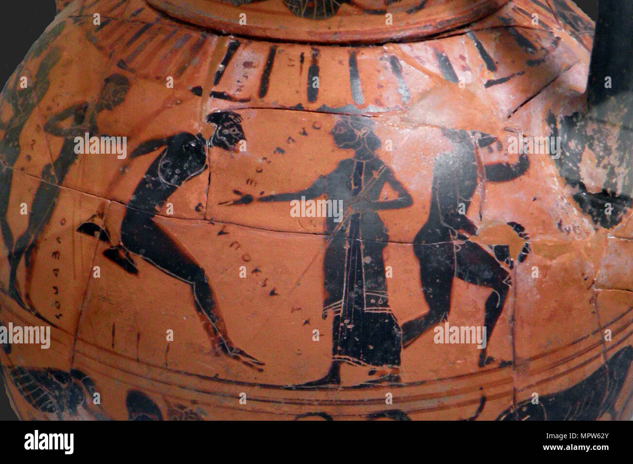 The long jump event at the ancient Olympic Games, Attic black-figured cup, 540 BC. - Stock Image
