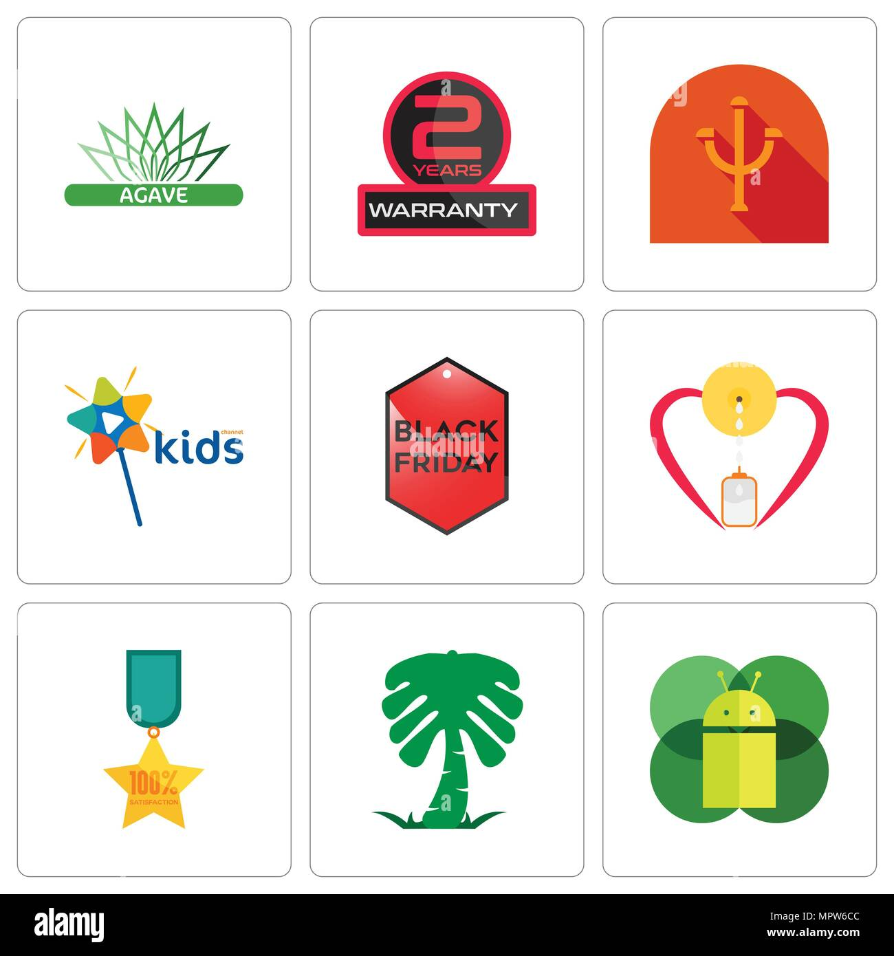 Set Of 9 simple editable icons such as mobile os a, saudi palm, 100% satisfaction, breastfeeding, black friday, kids channel, psi, 2 years warranty, a - Stock Vector