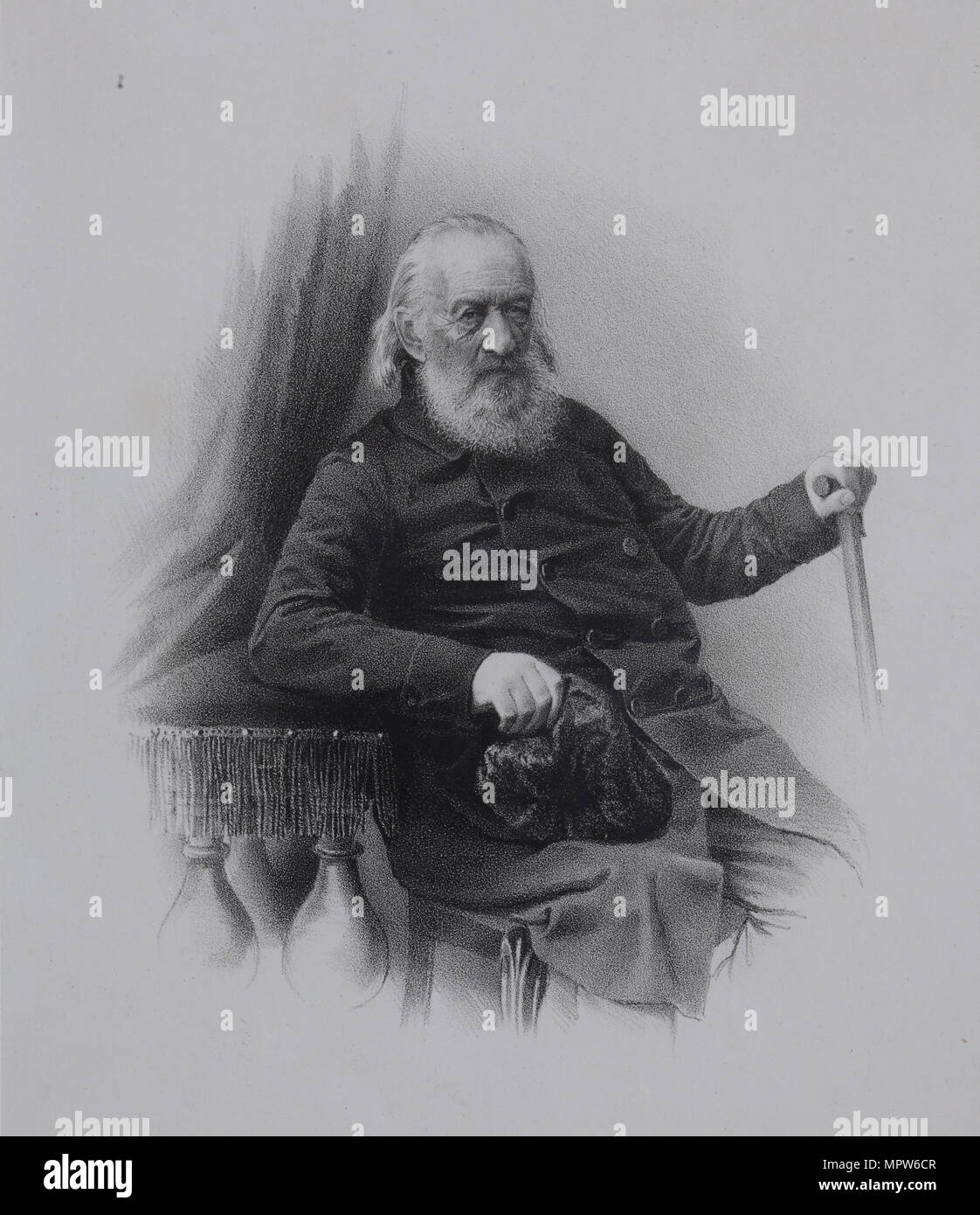 Portrait of the Decembrist count Sergey Volkonsky (1788-1865), 1860s. - Stock Image