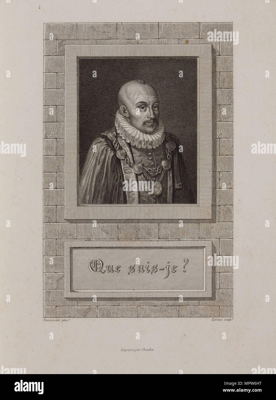 Portrait of Michel de Montaigne (1533-1592), 1800s. - Stock Image