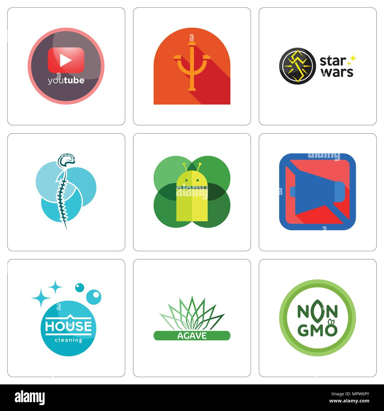 Set Of 9 simple editable icons such as non gmo, agave, house cleaning, mobile silent, os a, neurosurgery, star wars, psi, pinetree, can be used for mo - Stock Vector