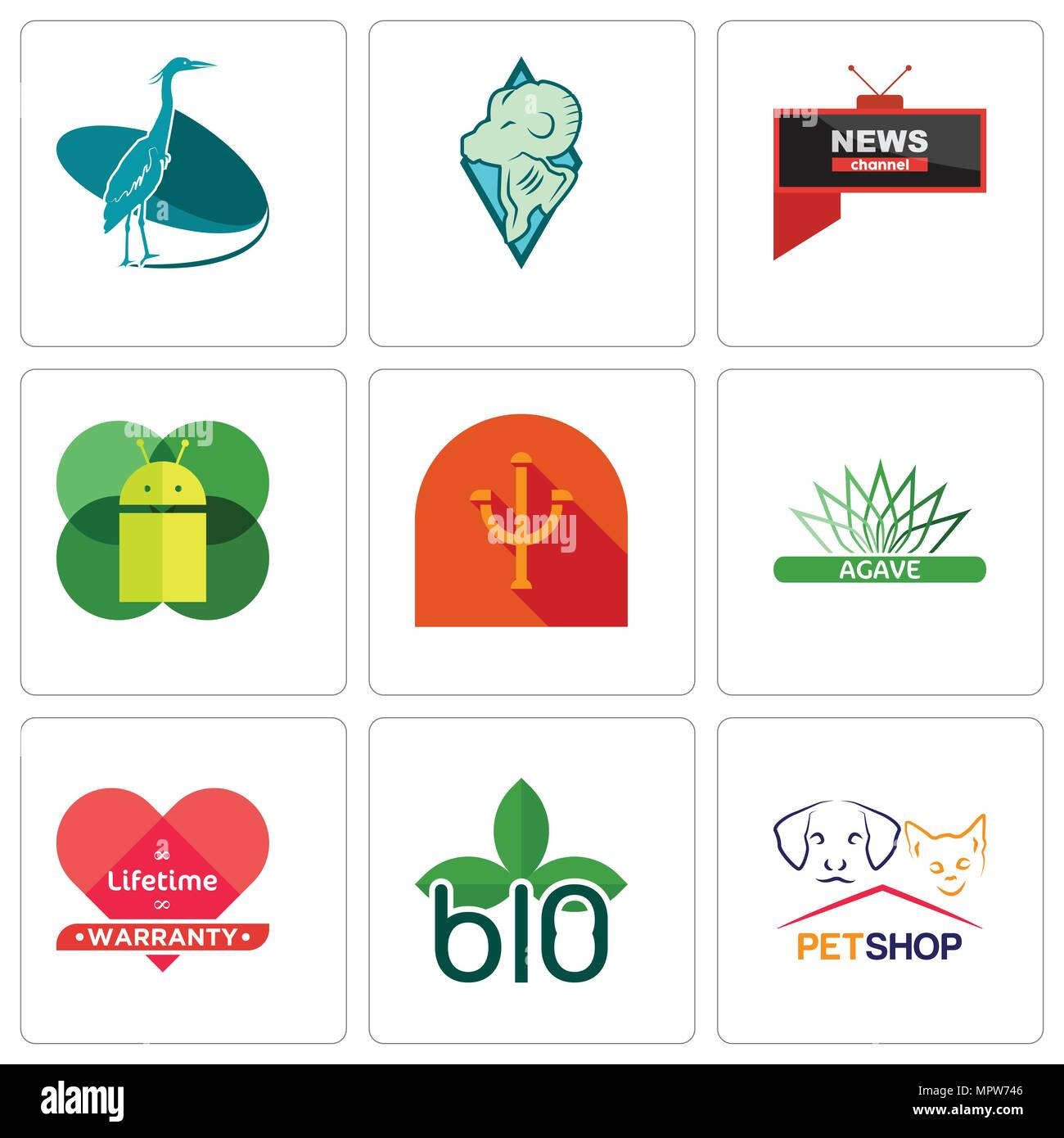Set Of 9 simple editable icons such as petshop, biodegradable, lifetime warranty, agave, psi, mobile os a, all news channel, rams, heron, can be used  - Stock Vector