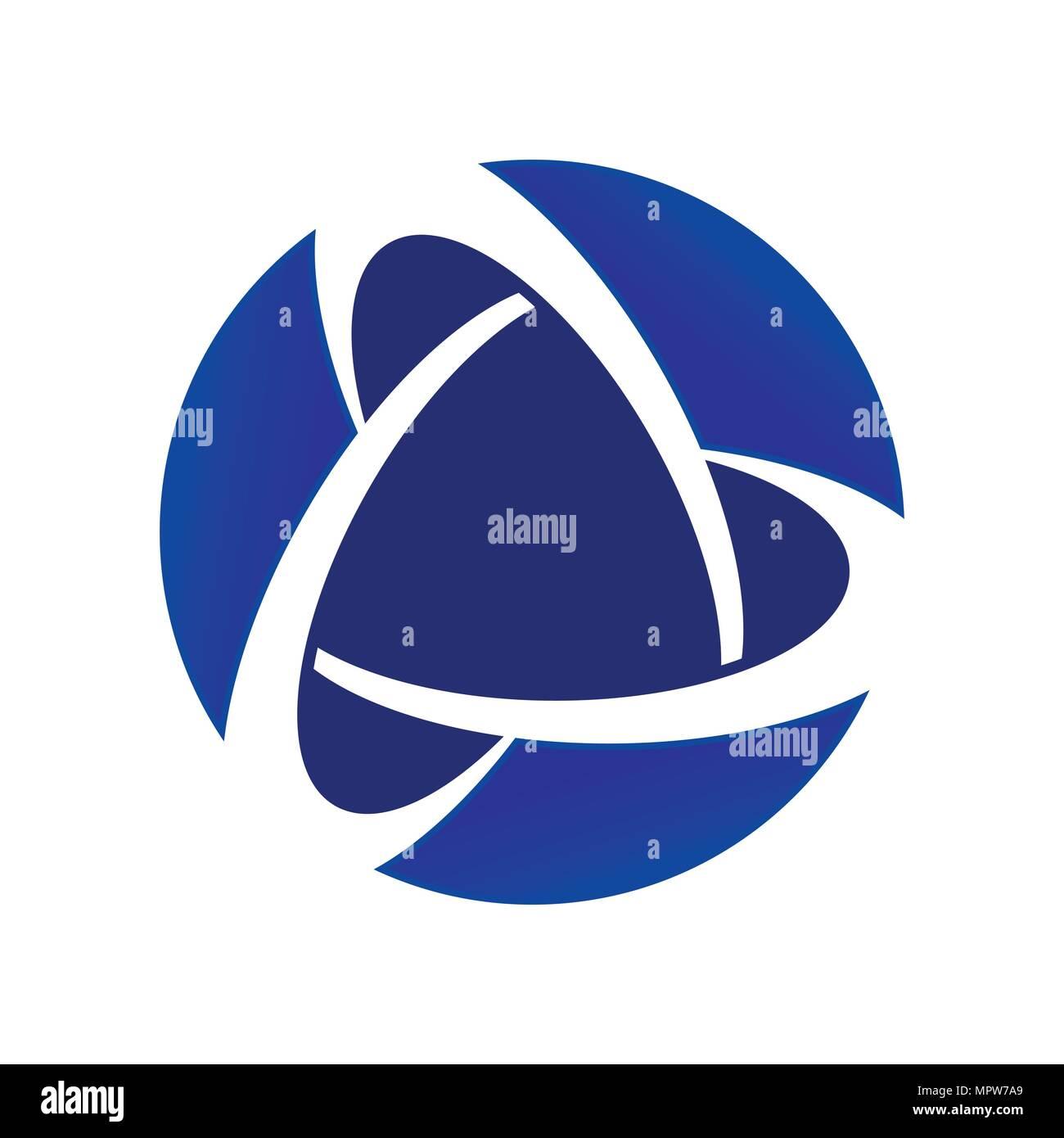 Blue Core Global Alliance Circular Vector Symbol Graphic Logo Design Emblem - Stock Vector