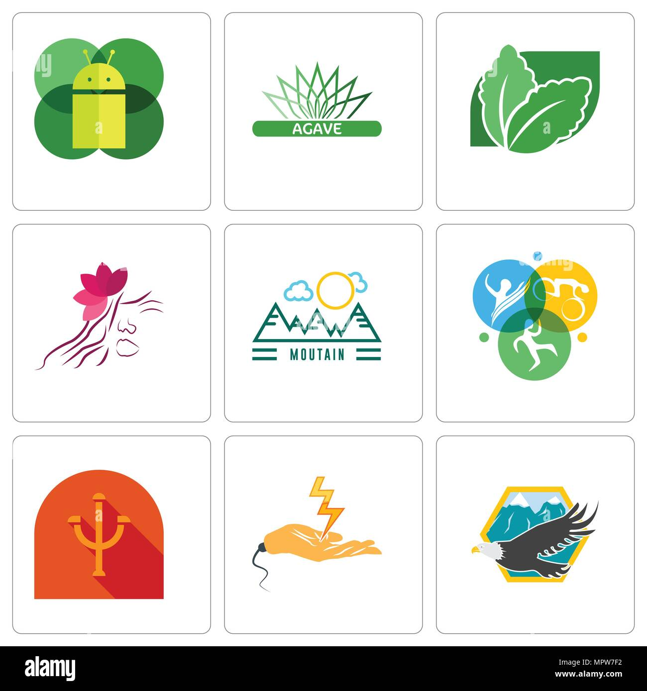 Set Of 9 simple editable icons such as eagle, electrical contractor, psi, swim bike run, moutain, parlour, stevia, agave, mobile os a, can be used for - Stock Vector
