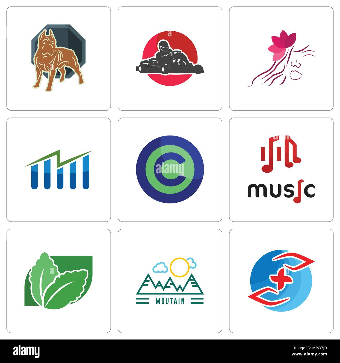 Set Of 9 simple editable icons such as medicare, moutain, stevia, music, copyright free, free stock, parlour, kart, pit bull, can be used for mobile,  - Stock Vector