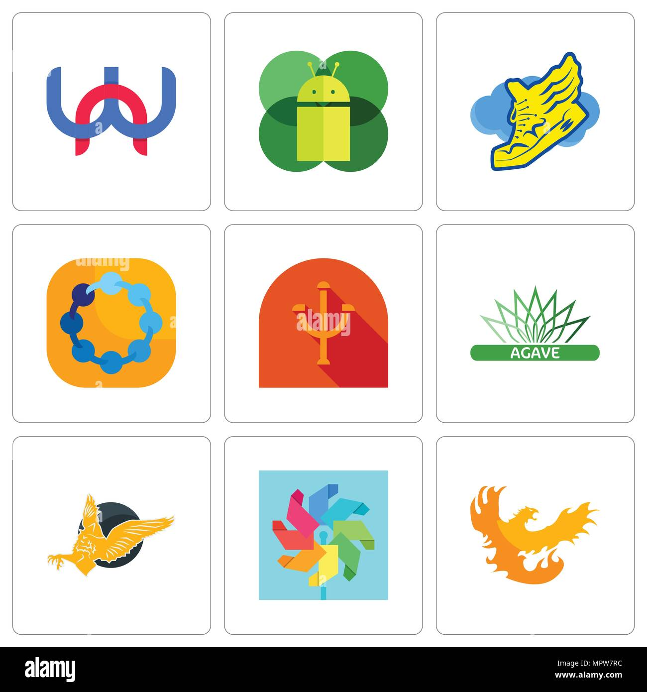 Set Of 9 simple editable icons such as phoenix, pinwheel, gryphon, agave, psi, teamspirit, shoe with wings, mobile os a, wn, can be used for mobile, w - Stock Vector