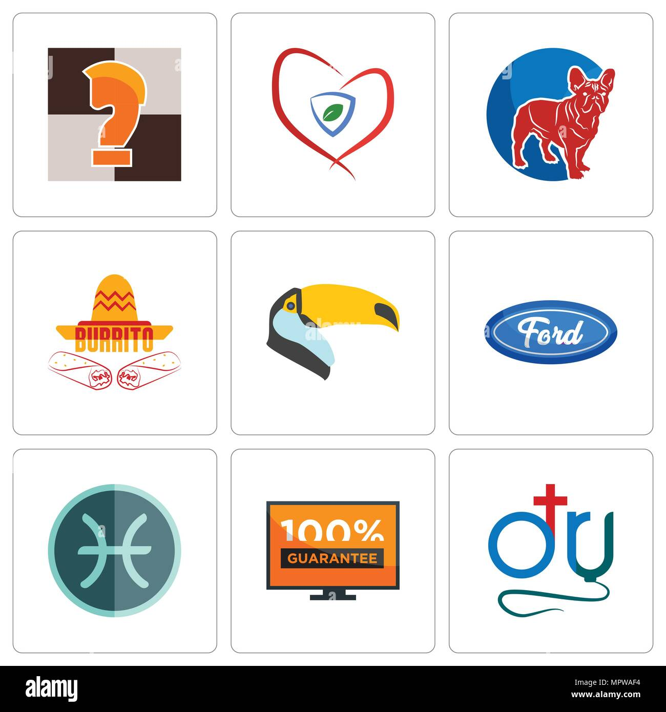 15190f1ed Set Of 9 simple editable icons such as dr., 100 guarantee, pisces, f,  toucan, burrito, french bulldog, insurance, chess knight, can be used for  mobile