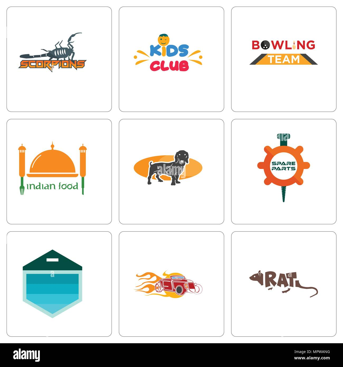 Set Of 9 simple editable icons such as rat, hot rod, garage