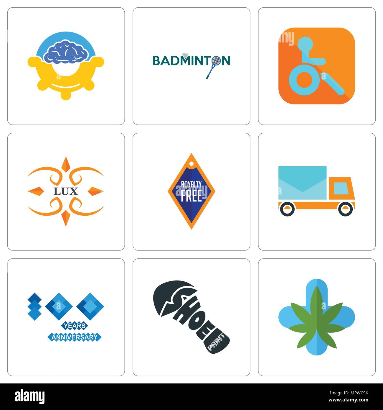 f97c23dd Set Of 9 simple editable icons such as medical marijuana, shoe print, 100  year anniversary, post car, lux, handicapped, badminton, program management,