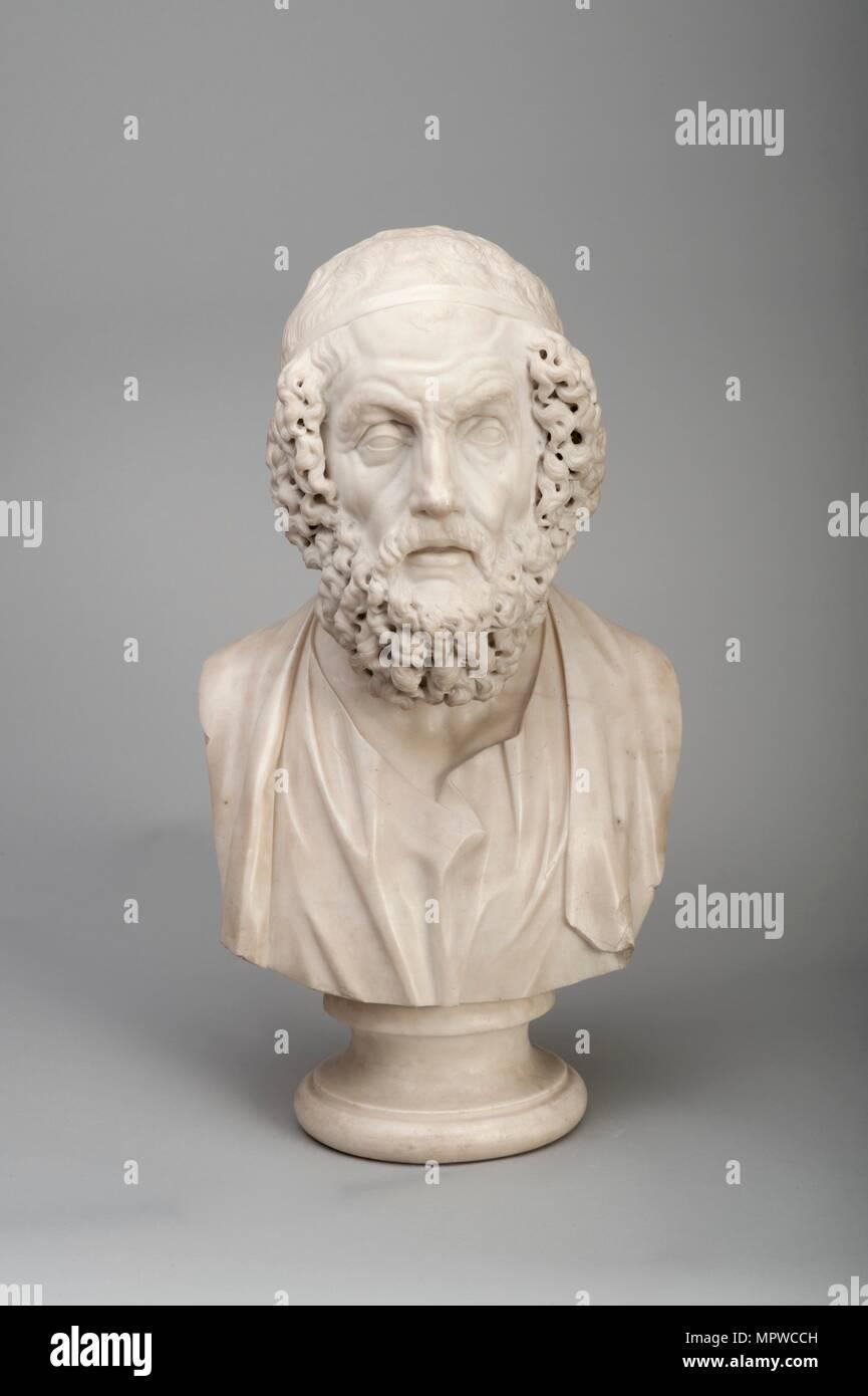 Marble bust of the Ancient Greek poet Homer, 18th century. Artist: Joseph Wilton. - Stock Image