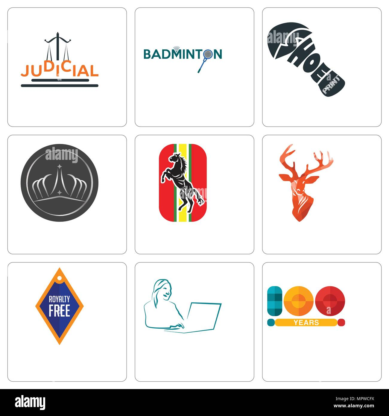 400bcfa4 Set Of 9 simple editable icons such as 100 year, secretary, stag head,  horse, tiara, shoe print, badminton, judicial, can be used for mobile, web