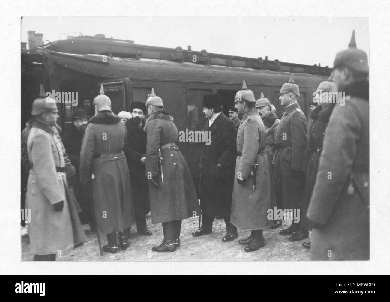 Arrival of the Russian delegation in Brest-Litovsk. In the centre Trotsky. Left: Kamenev and Joffe. - Stock Image