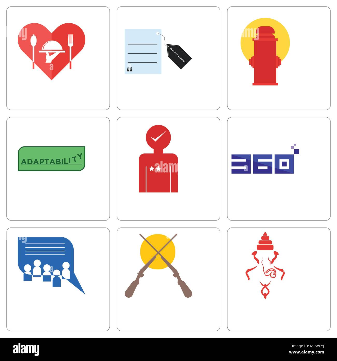Set Of 9 Simple Editable Icons Such As Ganesh Shotgun Discussion Request Customer Board 360 Degree Experience Adaptability Fire Hydrant A Quote