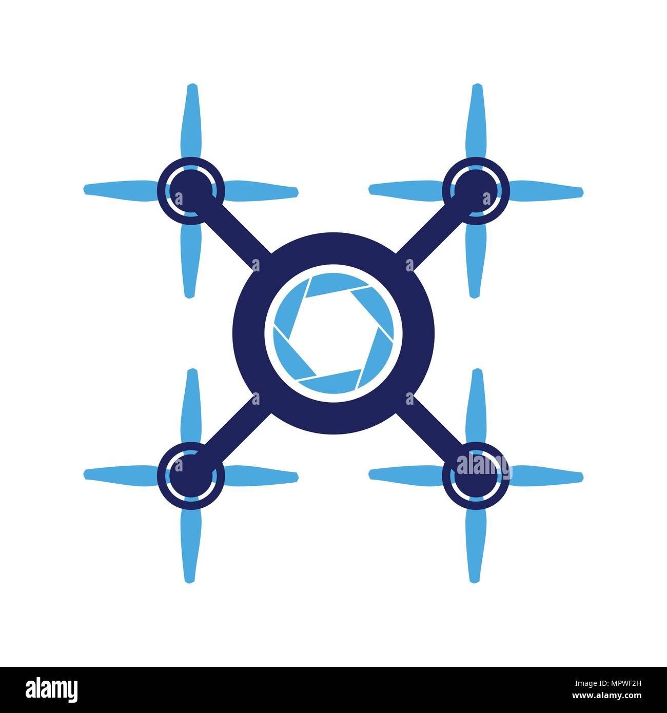 Four Propeller Aero Drone Photography Vector Symbol Graphic Logo Design - Stock Image