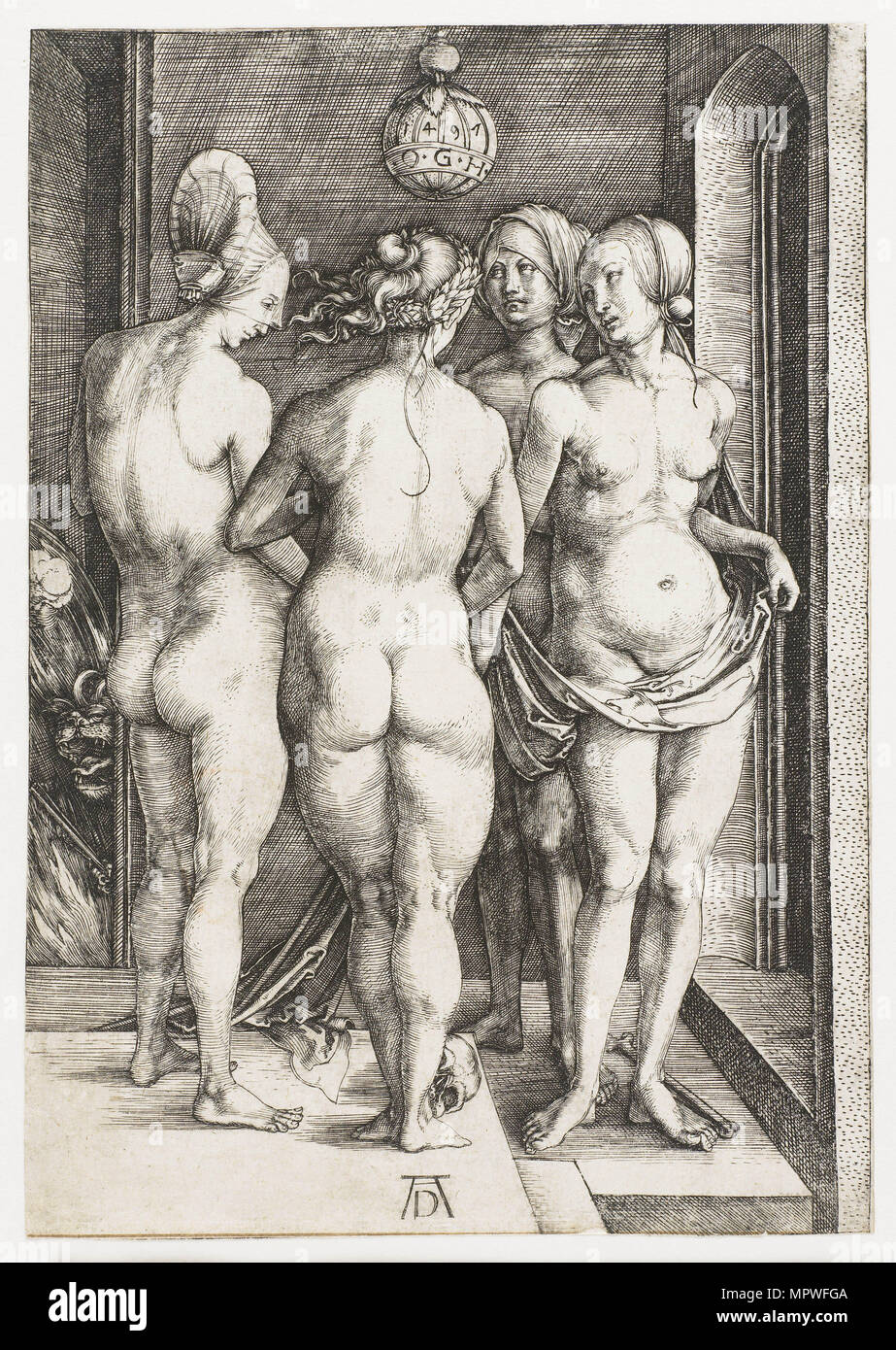 Four witches, 1497. - Stock Image