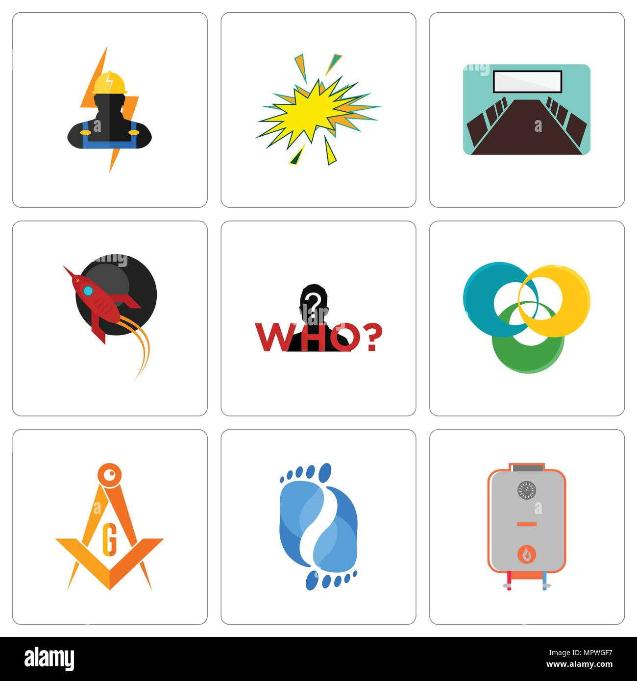 Set Of 9 simple editable icons such as boiler, podiatry, masonic ...