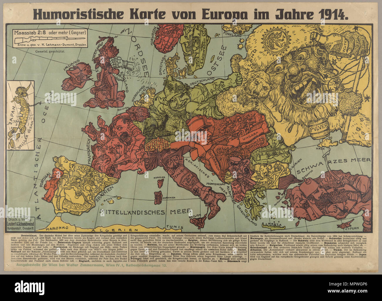 Humorous Europe Map In 1914 1914 Stock Photo 186188078 Alamy