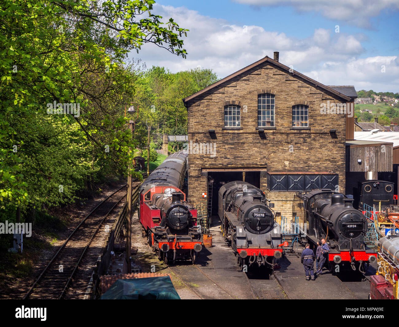 Steam Locomotives at the engine sheds on the Keighley and Worth Valley Railway at Haworth West Yorkshire England - Stock Image
