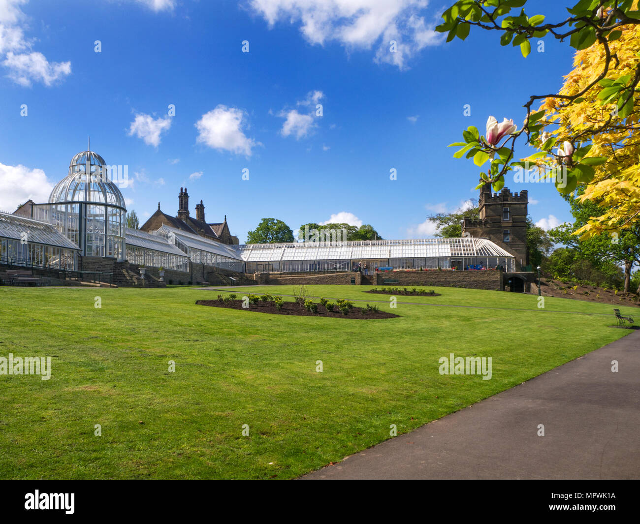Upper Terrace Glasshouses at Cliffe Castle Keighley West Yorkshire England - Stock Image